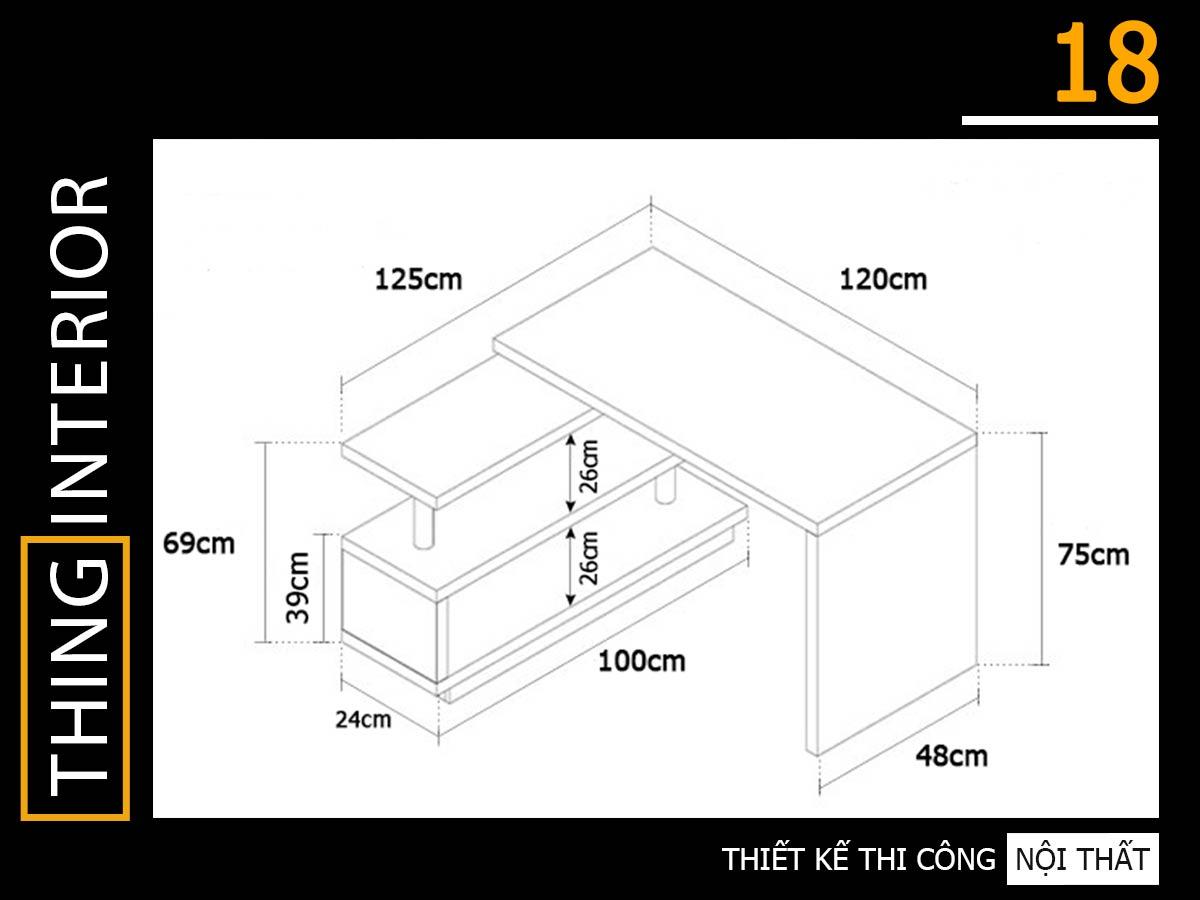 thiết kế bàn làm việc độc đáo