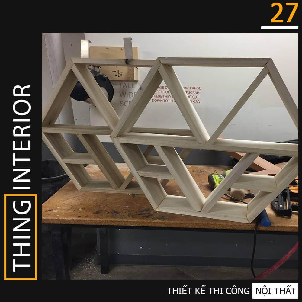tủ gỗ hình lục giác