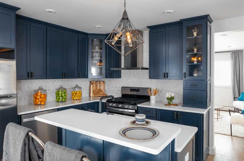 tủ bếp xanh navy