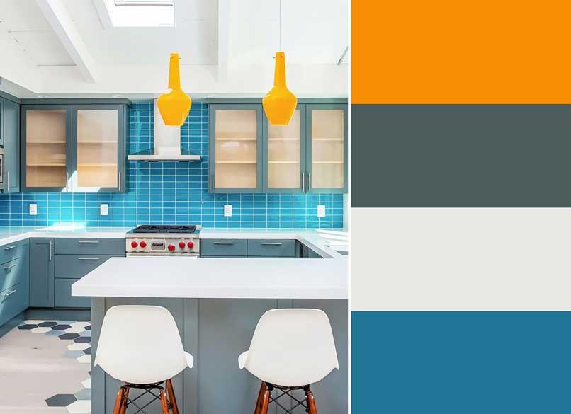 bếp phối màu xanh và cam