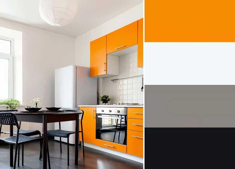 bếp màu cam và đen
