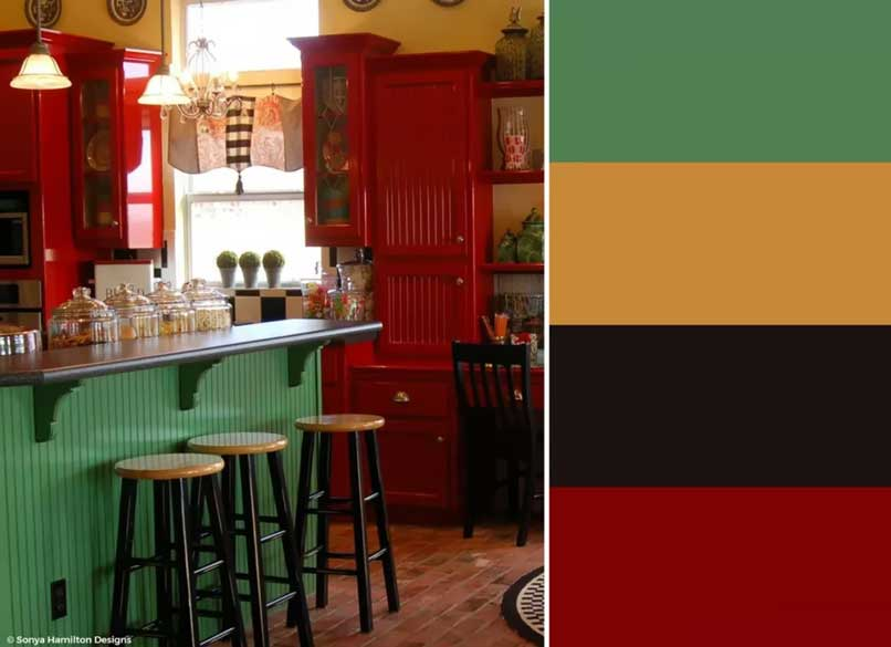 nhà bếp đỏ xanh vàng