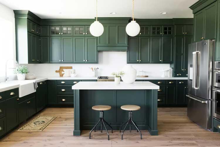 kệ bếp xanh lá cây