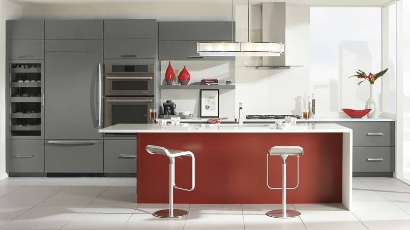 nhà bếp có điểm nhấn màu đỏ