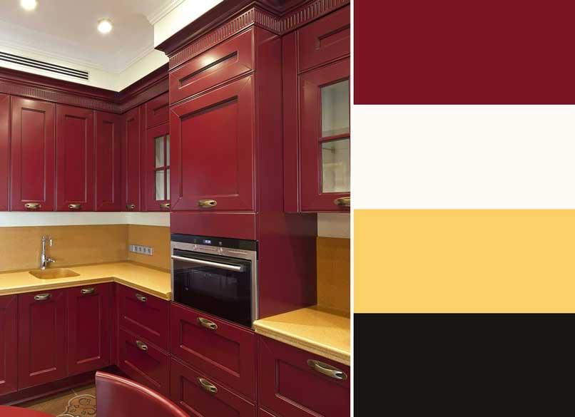 phối màu phòng bếp đỏ và vàng