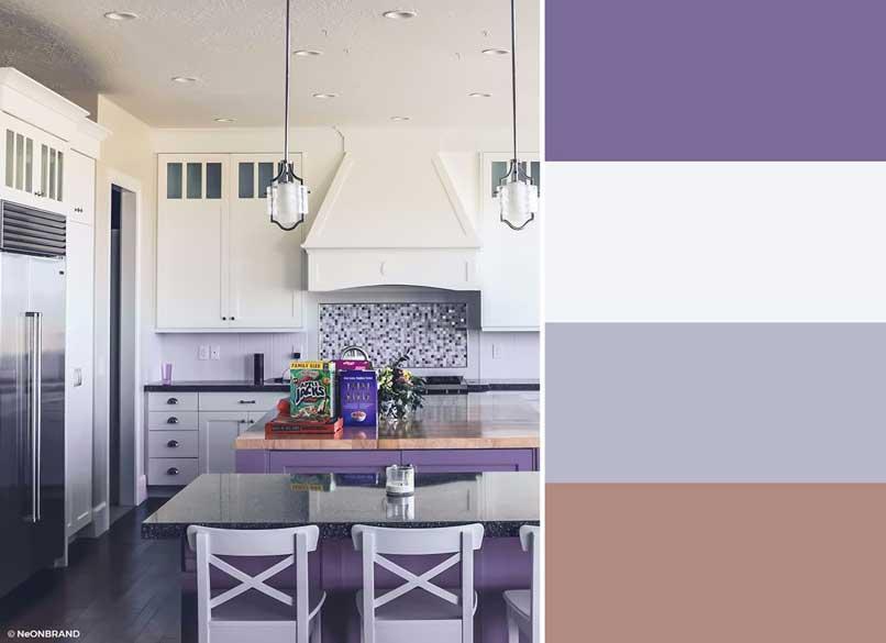 nhà bếp màu tím và be