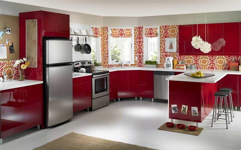 phòng bếp màu đỏ