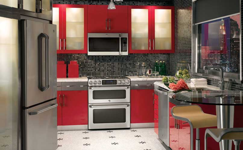 sơn tủ bếp màu đỏ
