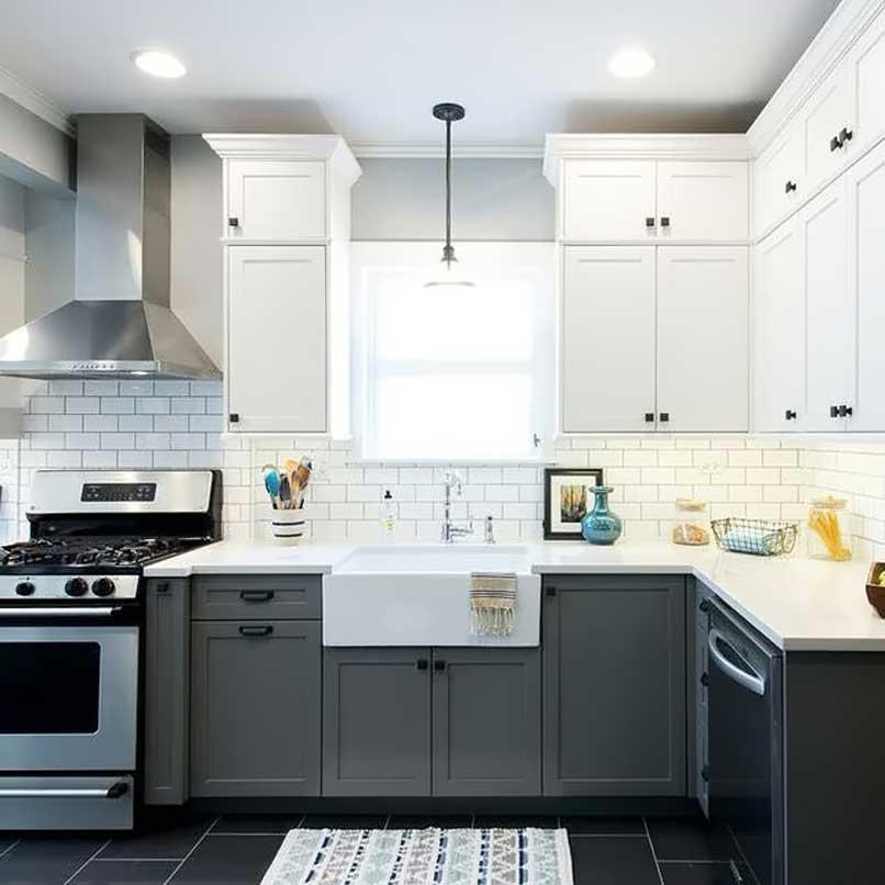 tủ bếp 2 tông màu