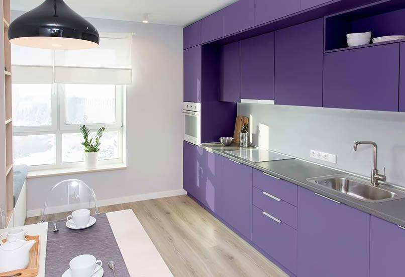 tủ bếp màu tím