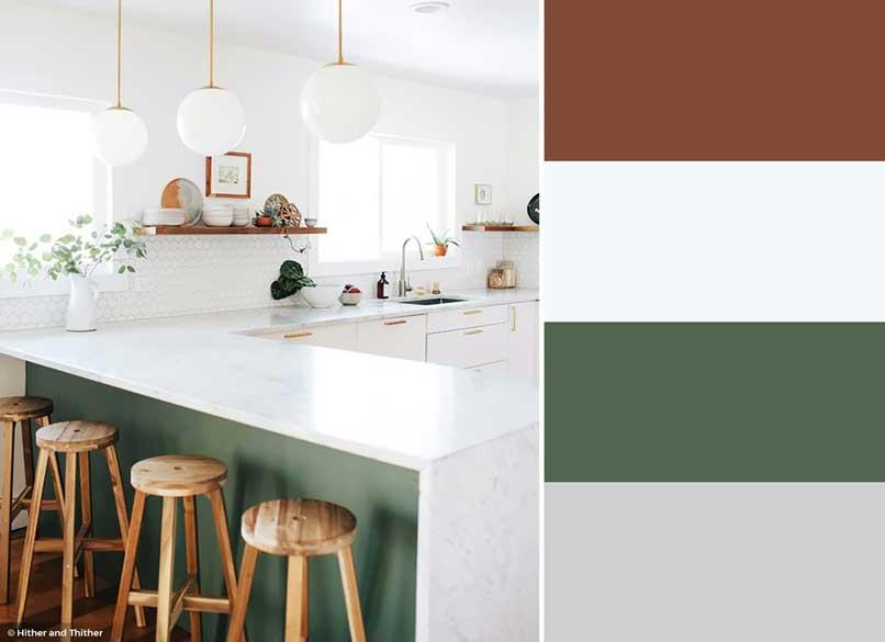 tủ bếp xanh lá cây và trắng