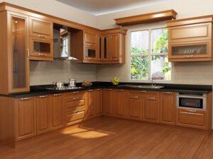 có nên làm tủ bếp bằng gỗ tự nhiên