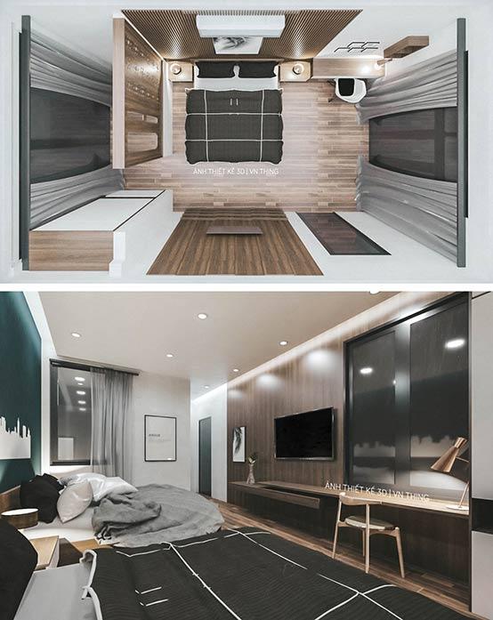Phối cảnh 3D phòng ngủ khách sạn