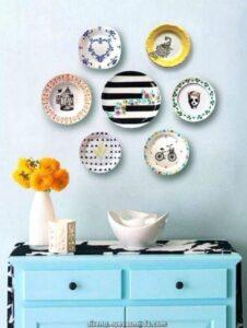 trang trí tường bằng đĩa ăn (17)