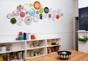 trang trí tường bằng đĩa ăn (8)