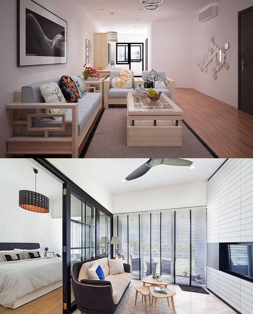 phòng khách nhỏ chung cư