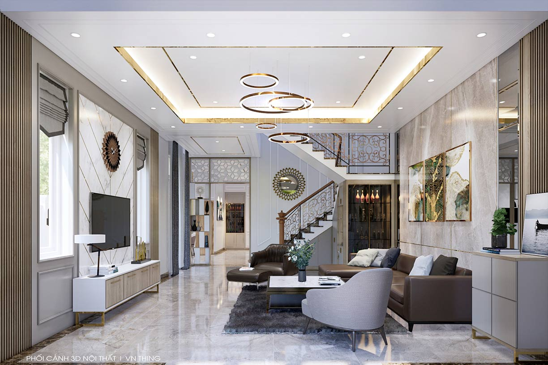 thiết kế phòng khách nhà anh Ninh