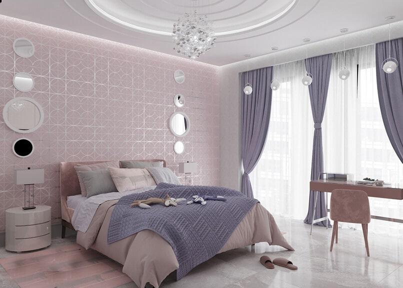 phòng ngủ màu tím hồng (7)
