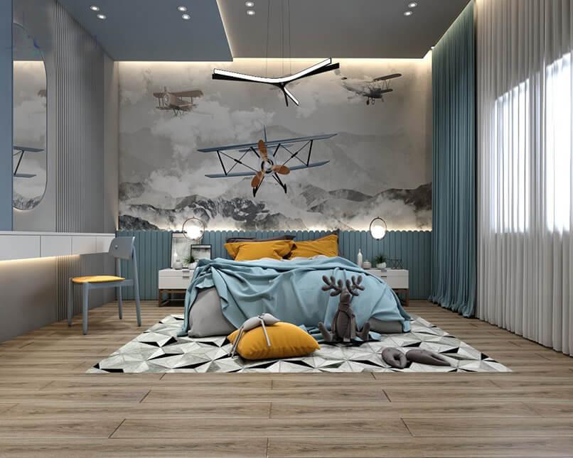 trang trí phòng ngủ màu xanh da trời (4)