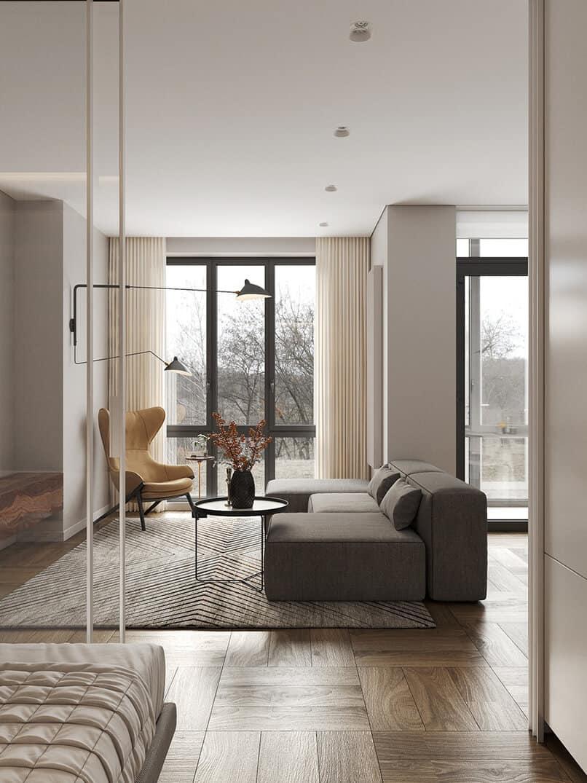 thiết kế trần thạch cao phẳng phòng khách (13)
